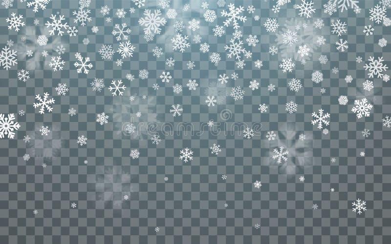 Christmas snow. Falling snowflakes on dark background. Snowflake transparent decoration effect. Xmas snow flake pattern. Magic stock illustration