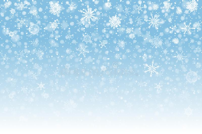 Christmas snow. Falling snowflakes on light background. Snowfall. Vector illustration, eps 10 vector illustration