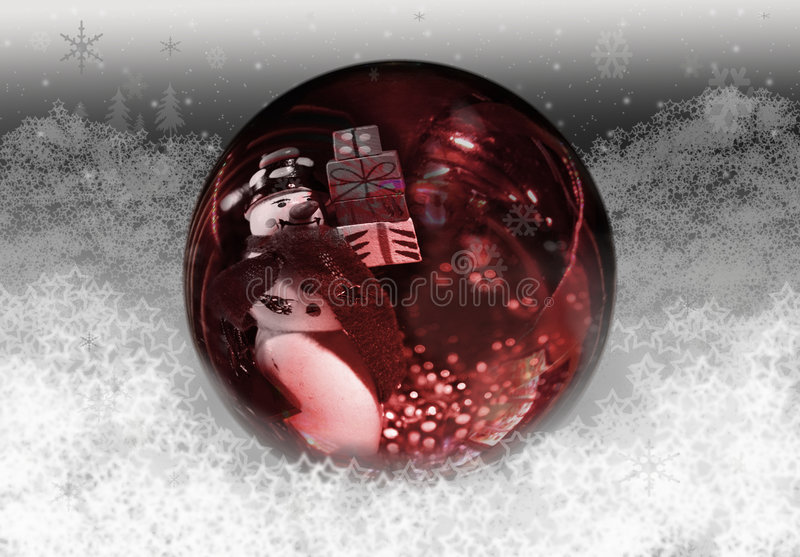 Christmas snow globe. With snowman holding presents inside. Foreseeing many presents royalty free stock images