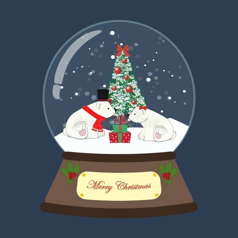 Christmas snow globe with bear vector illustration royalty free illustration