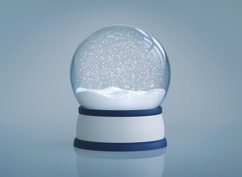 Christmas snow globe on blue background royalty free illustration