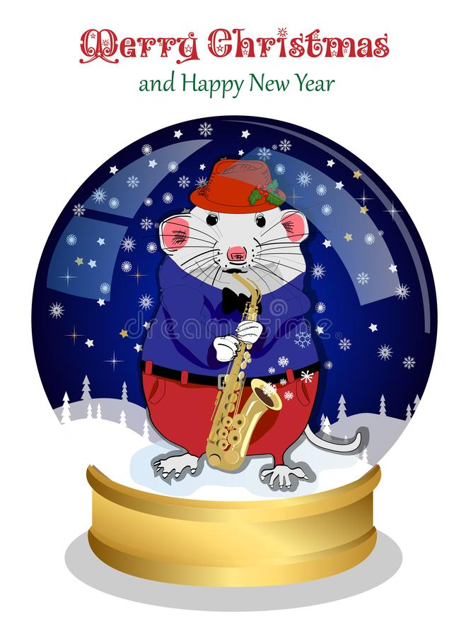 Christmas snow globe. Funny Christmas mouse plays a musical instrument and congratulates on the holidays. stock illustration