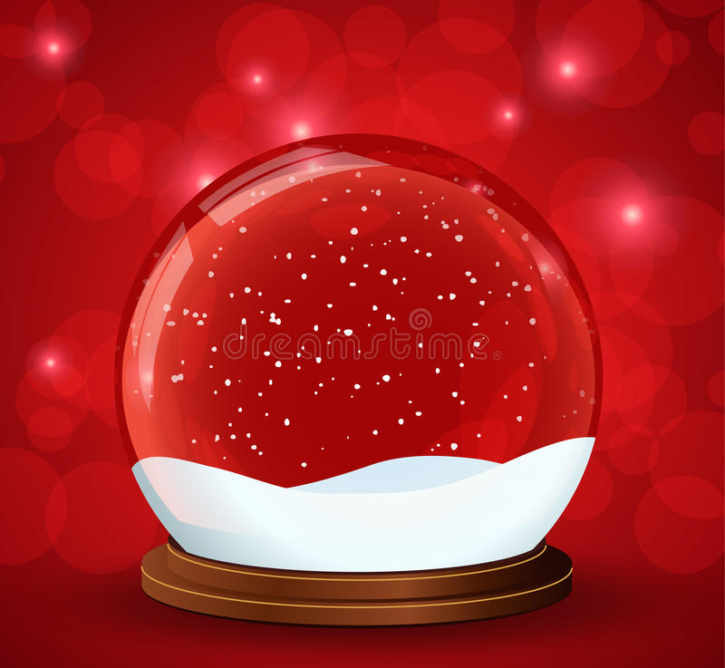 Christmas snow globe with glittering lights royalty free illustration