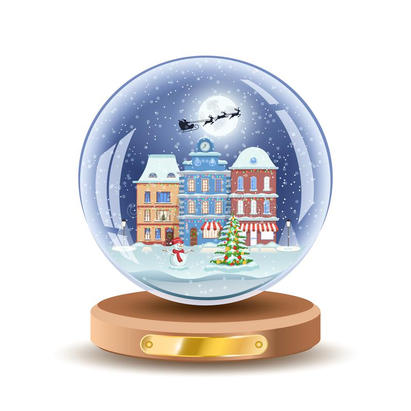Christmas snow globe with small cityscape. Vector Xmas gift glass ball illustration. Isolated on white color. stock illustration