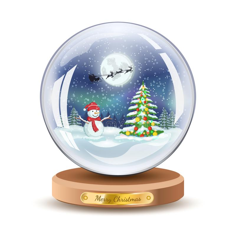 Christmas snow globe with snowman and Christmas fir tree. Vector Xmas gift glass ball illustration. Isolated on white color. stock illustration