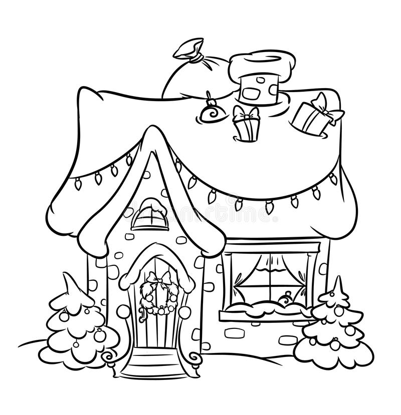 Christmas Snow House stock illustration