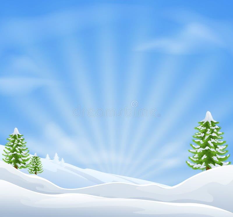 Christmas snow landscape background stock illustration