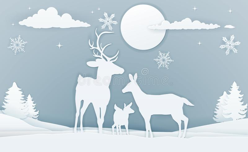 Deer Winter Scene Paper Art. Christmas snow winter scene background with a family of deer in silhouette in a vintage paper art styler vector illustration