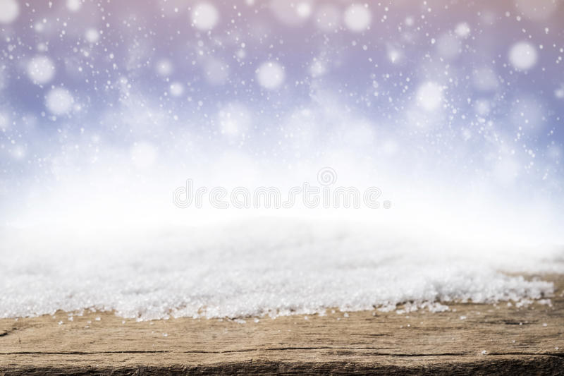 Christmas snow and wood background stock photography