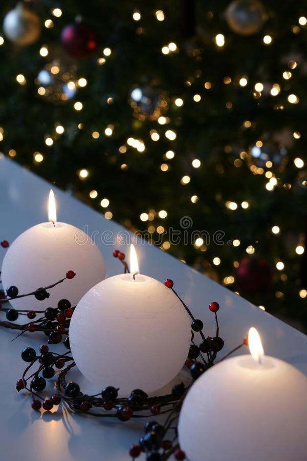 Christmas Snowball Candles royalty free stock photos