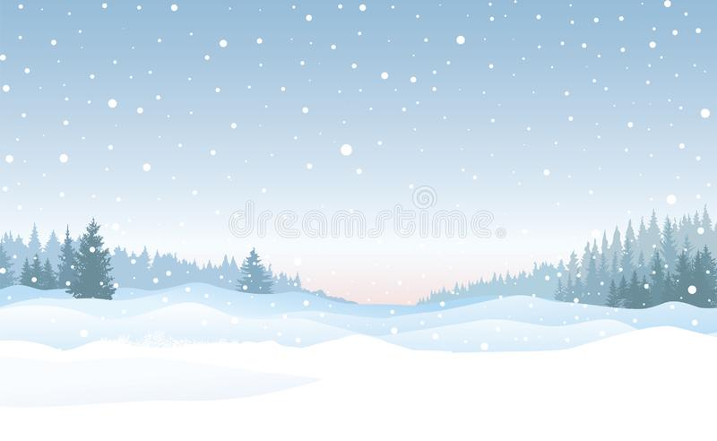Christmas snowfall background. Snow winter landscape. Merry Christmas skyline. Christmas background. Snow winter landscape. Retro Merry Christmas snowy skyline stock illustration