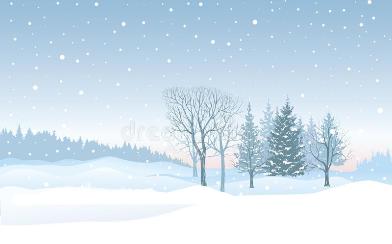 Christmas snowfall background. Snow winter landscape. Merry Chri. Christmas background. Snow winter landscape. Retro Merry Christmas snowy skyline. Winter nature stock illustration