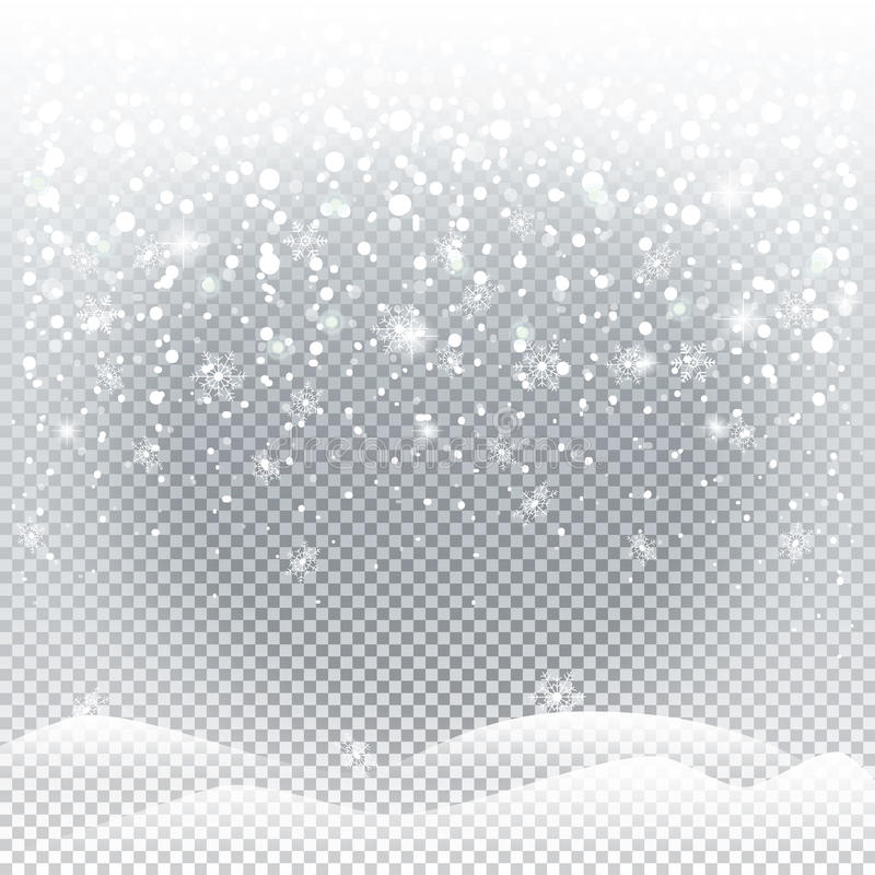 Christmas snowfall 2019. Christmas snowfall. Snowfall, falling snowflakes, snow mountains isolated on transparent background. For Happy New Year and Merry royalty free illustration