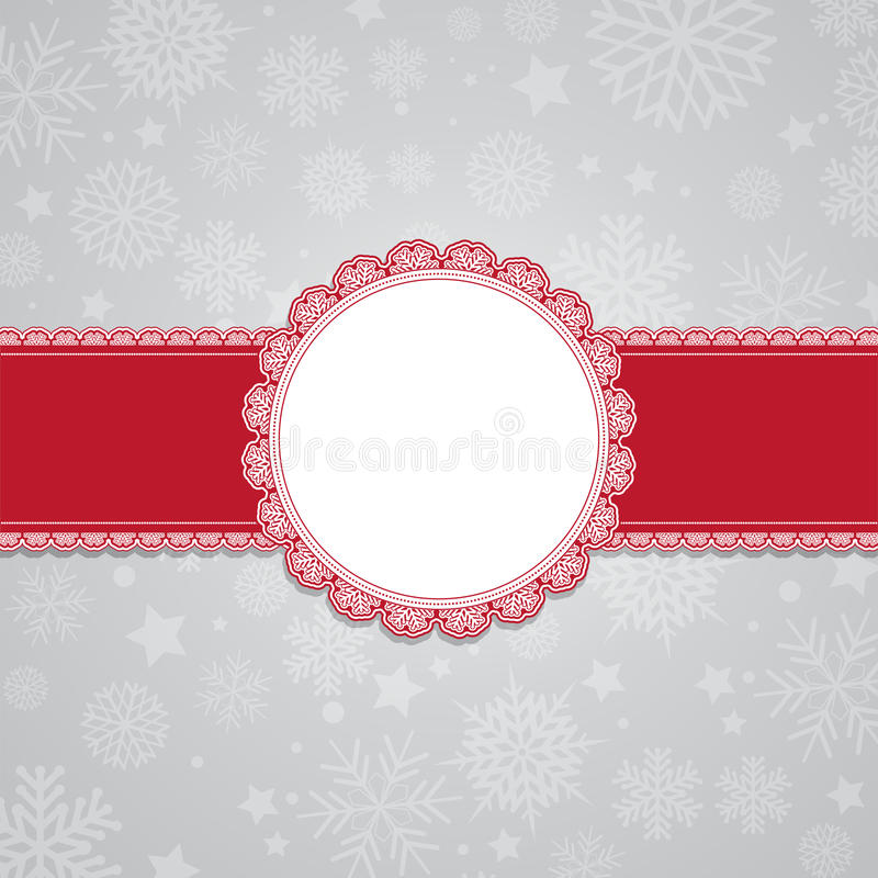 Christmas snowflake background with blank label vector illustration