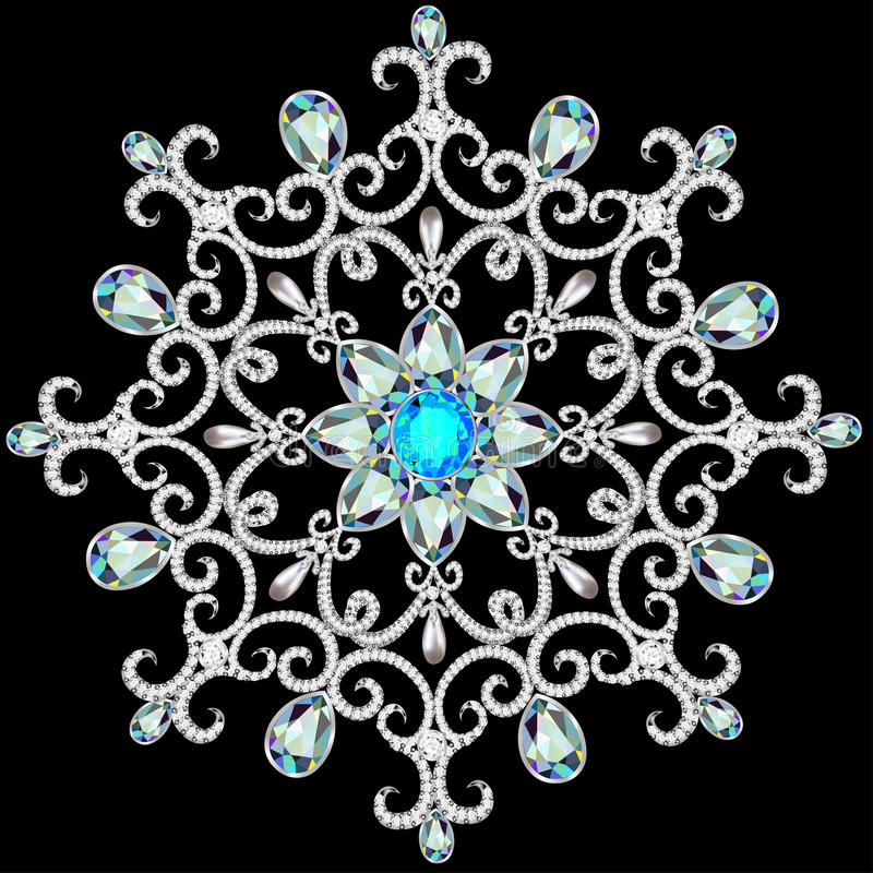 Christmas snowflake crystal precious. Beautiful jewelry, medallion, brooch, decoration on neck, mandala, frame. Fashion pattern b stock illustration