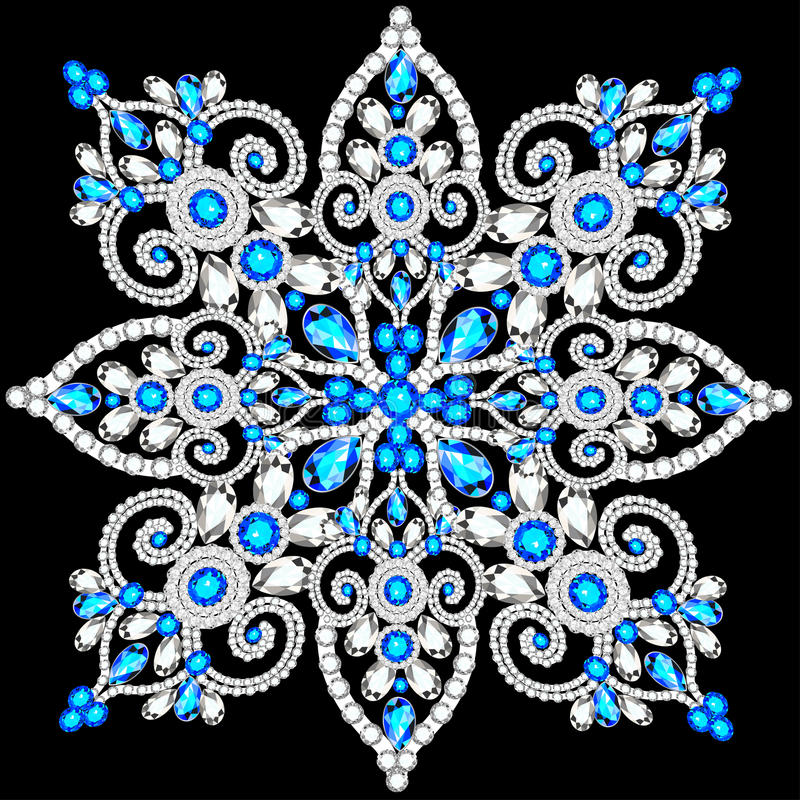 Christmas snowflake crystal precious. Beautiful jewelry vector illustration