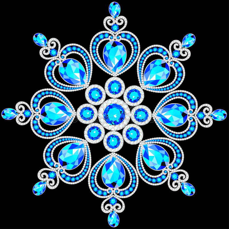 Christmas snowflake crystal precious. Beautiful jewelry. Medallion, brooch, decoration on neck, mandala, frame. Fashion pattern brilliant stones, applique vector illustration