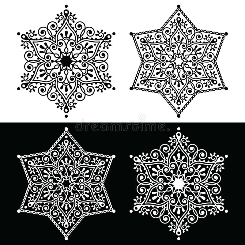 Christmas snowflake decoration - embroidery style royalty free illustration