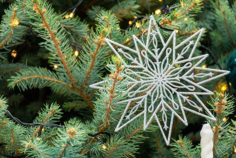 Christmas snowflake flake decoration on pine. Christmas snowflake decoration on green pine tree background stock image