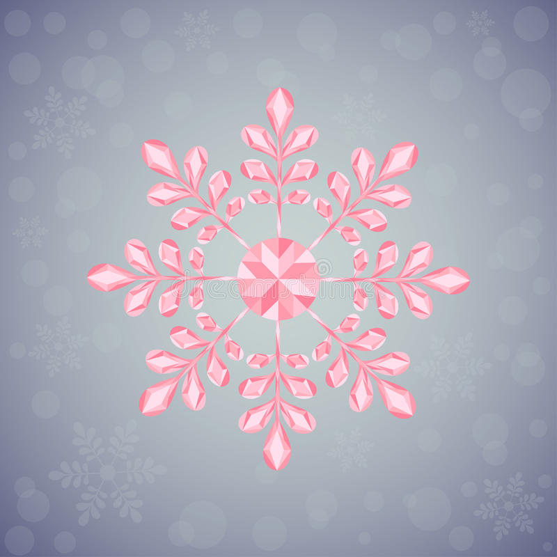 Christmas snowflake of geometric shapes. Sign of the pink snowflake. vector illustration