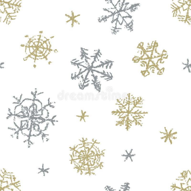 Christmas snowflake hand drawing seamless pattern on white. Like child`s drawing crayon or pencil gold and silver color snow. vector illustration