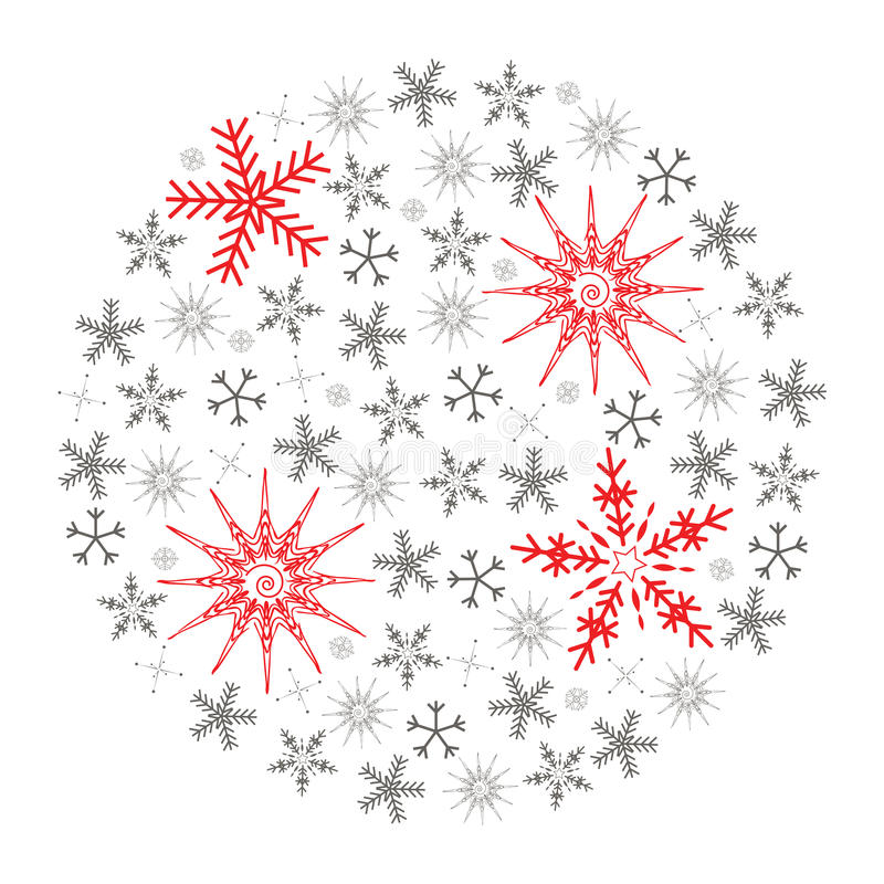 Christmas snowflake. Illustration of Christmas snowflake isolated on white background. Full of small gray and four big red snowflakes royalty free illustration
