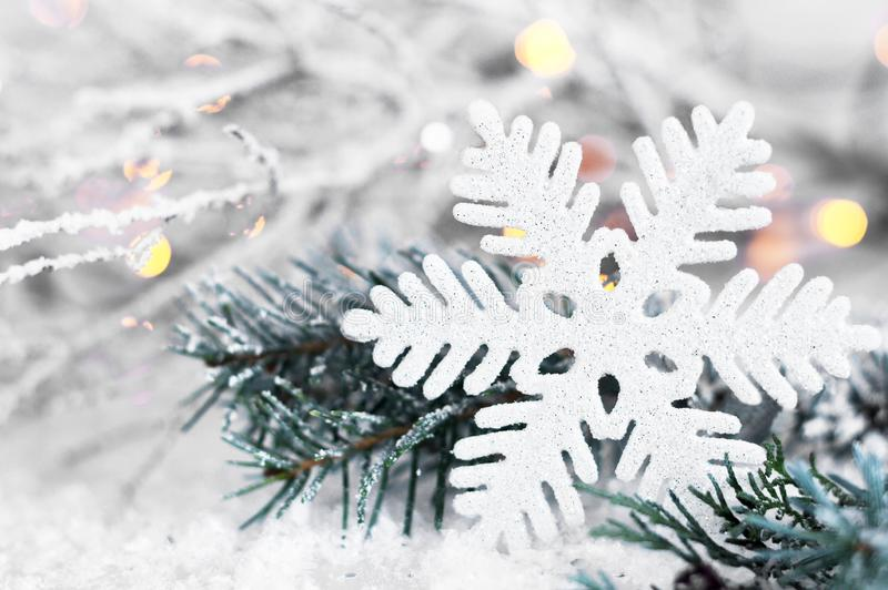 Christmas snowflake close up. Christmas decoration royalty free stock image