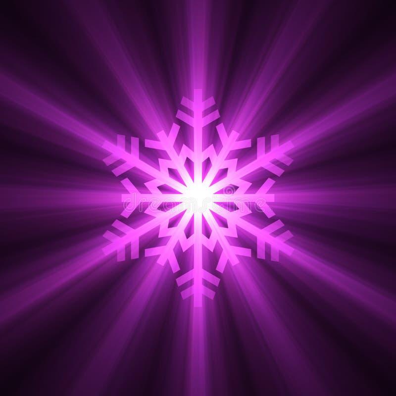 Christmas snowflake purple light flare stock illustration