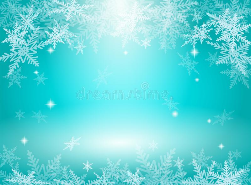 Christmas snowflakes on blue background royalty free stock photography