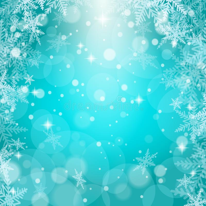 Christmas snowflakes on blue background royalty free stock images
