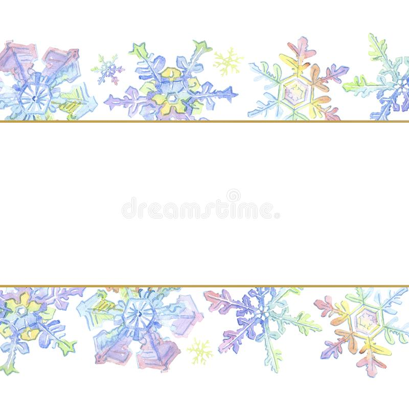 Christmas snowflakes. Christmas winter holiday symbol in a watercolor style. Frame border ornament. royalty free illustration