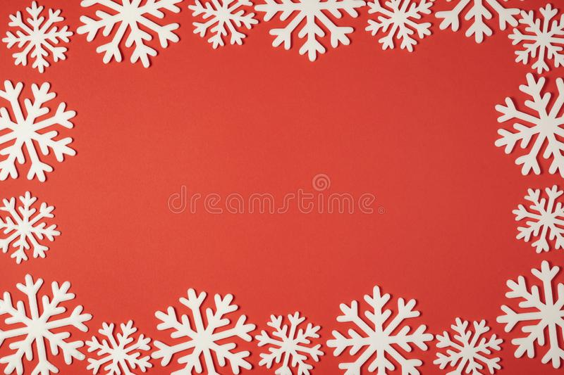 Christmas snowflakes decoration top view with copy space for your promo text royalty free stock images