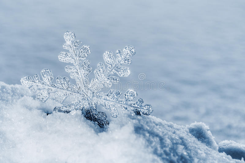 Christmas snowflakes on a snowy background. decoration. Christmas snowflakes on a snowy background. Christmas decorations. Toned image royalty free stock photos