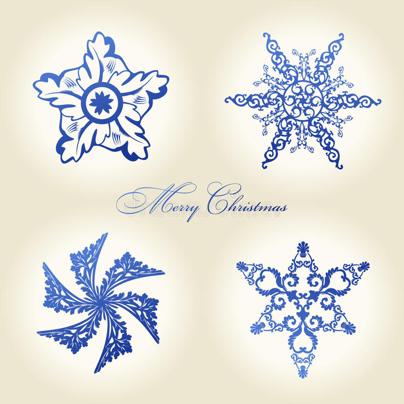 Download Christmas Snowflakes  Vintage Decor Blue Stock Vector - Image: 17143559