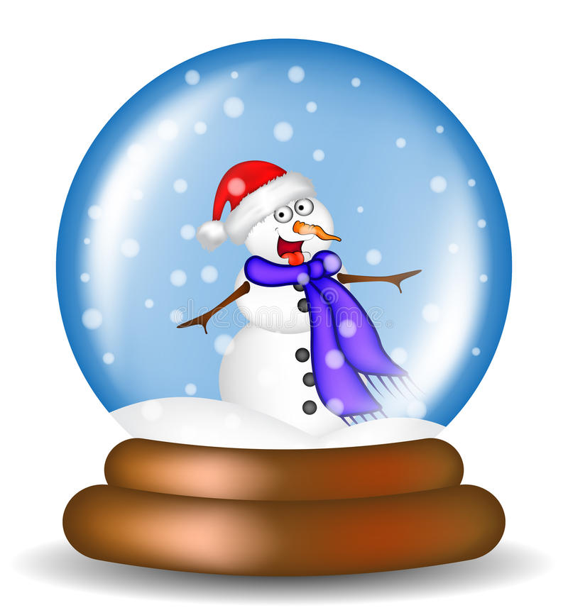 Christmas snowglobe with snowman cartoon design, icon, symbol for card. Winter transparent glass ball with the falling snow. Vect. Or illustration isolated on royalty free illustration