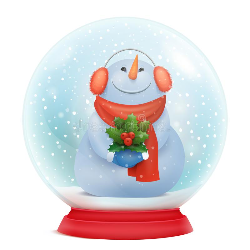Christmas snowglobe with snowman funny cartoon character inside. Vector illustration royalty free illustration