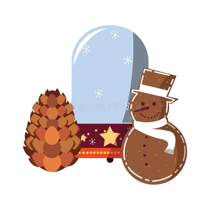Christmas snowglobe snowman and pinecone. Vector illustration vector illustration
