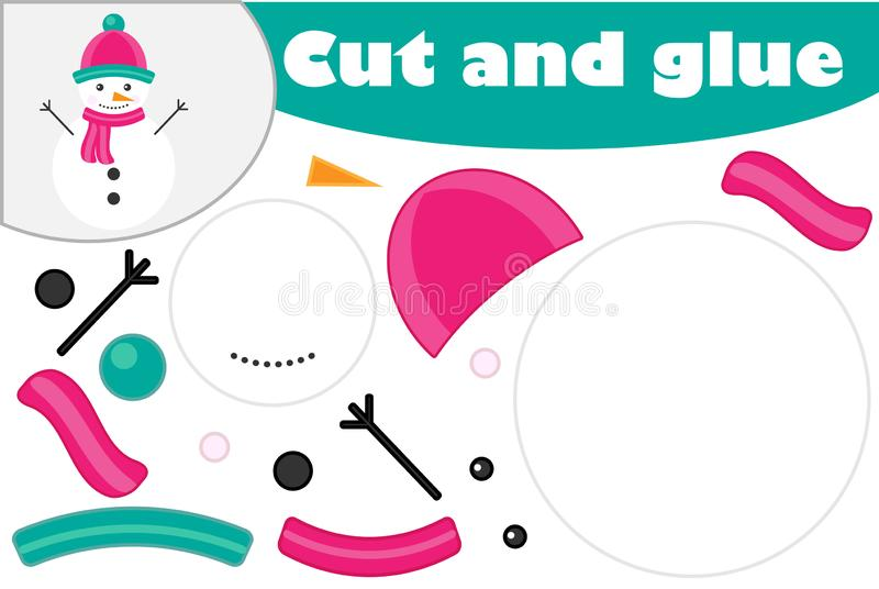 Christmas snowman cartoon style, education game for the development of preschool children, use scissors and glue to create the app. Lique, cut parts of image and stock illustration