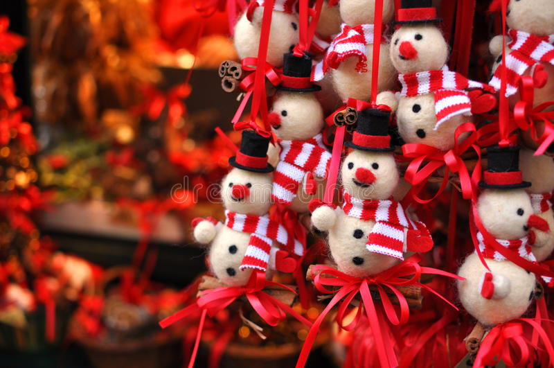 Christmas snowman decorations at a Christmas market royalty free stock photos
