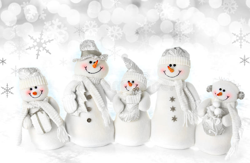 Christmas snowman family royalty free stock photo