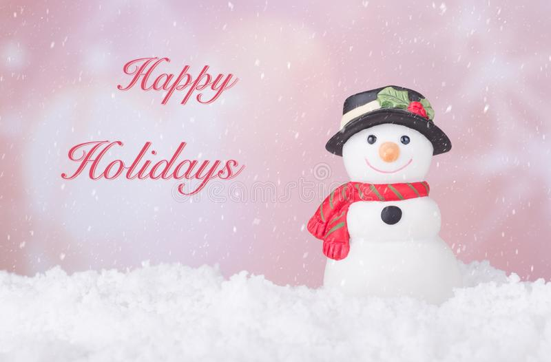 Holiday Snowman Figurine royalty free stock photography