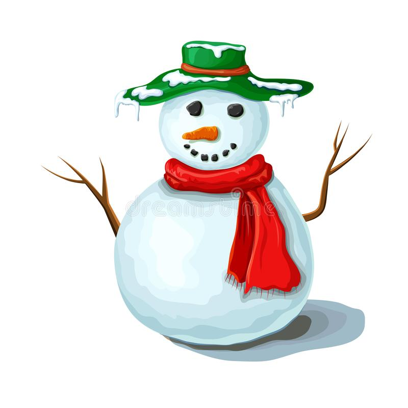 Christmas snowman illustration isolated on white background. Cute smiling snowman wearing red scarf and green hat covered with vector illustration