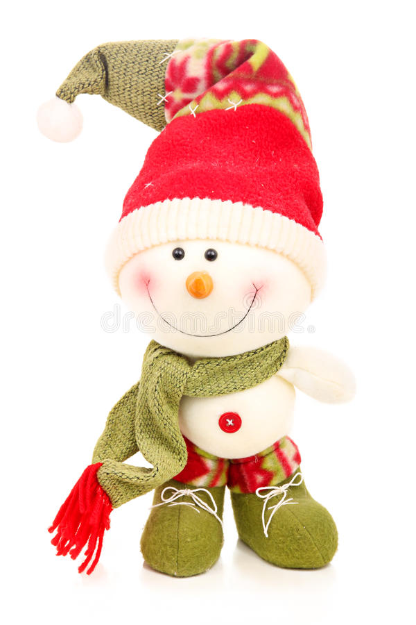 Christmas Snowman Isolated On A White Stock Photos