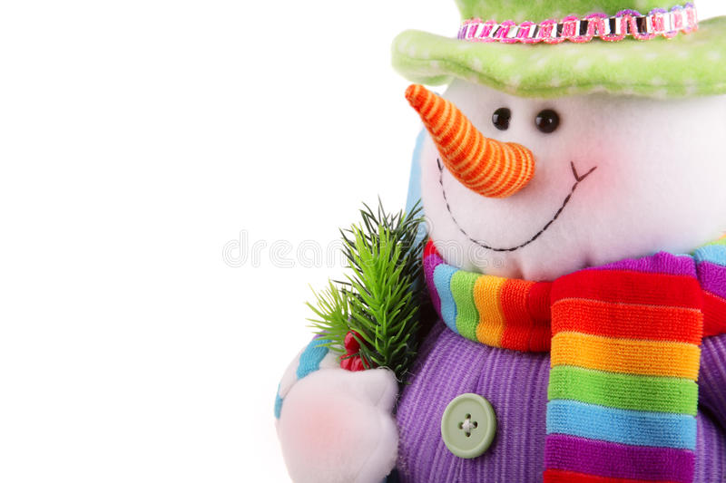 Christmas snowman isolated on a white background royalty free stock photos