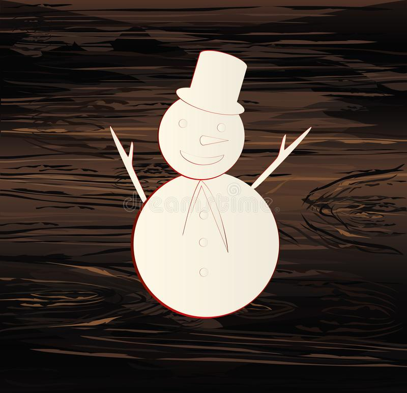 Christmas Snowman. Line drawing. Vector illustration on wooden background. New Year. Winter.  vector illustration