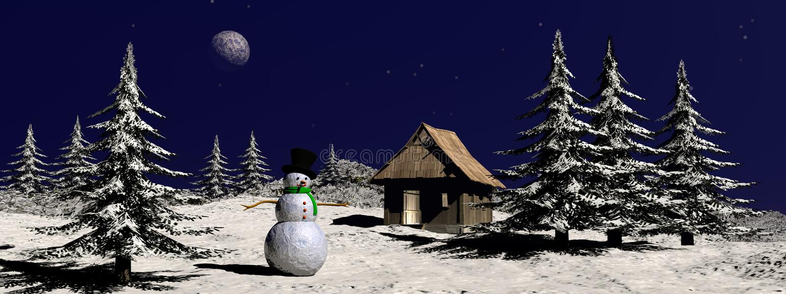Christmas snowman at the mountain - 3D render vector illustration