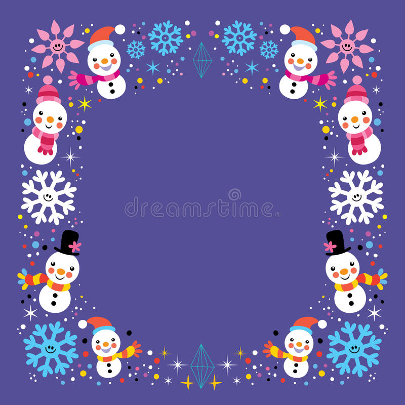 Download Christmas Snowman Snowflakes Winter Holiday Frame Border Background Stock Vector