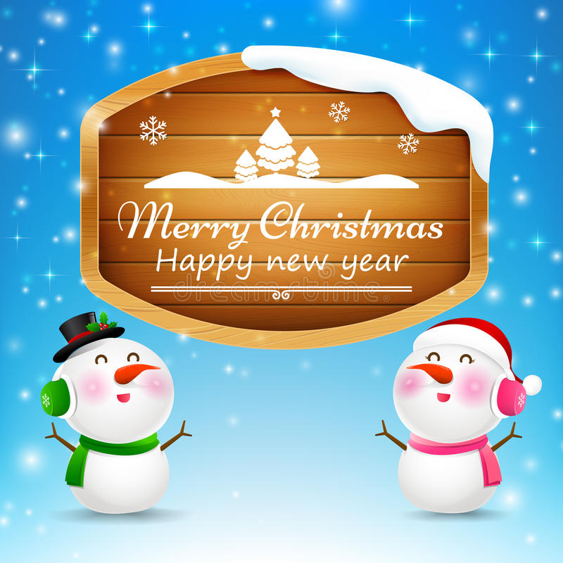 Christmas snowman and snowgirl wooden sign. With text merry christmas vector illustration eps 10 vector illustration