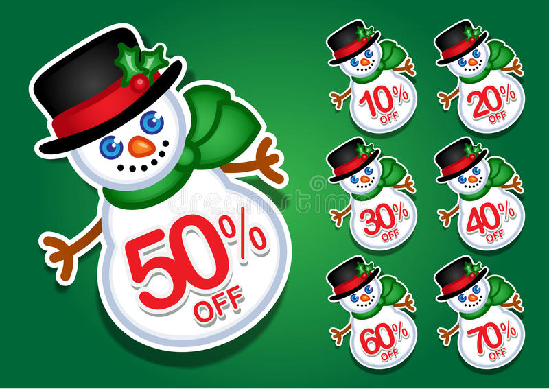Download Christmas Snowman Vector Discount Stickers / Seals Stock Vector - Illustration: 24802732