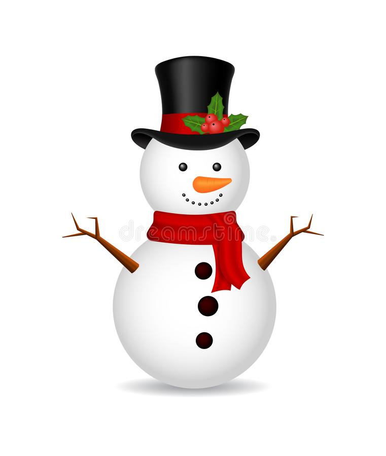 Free Christmas Snowman With Scarf On Isolated Background. Ice Snow Man For 2020 Winter Holiday. White Cartoon Snowball, Snowman. Stock Images - 159053094